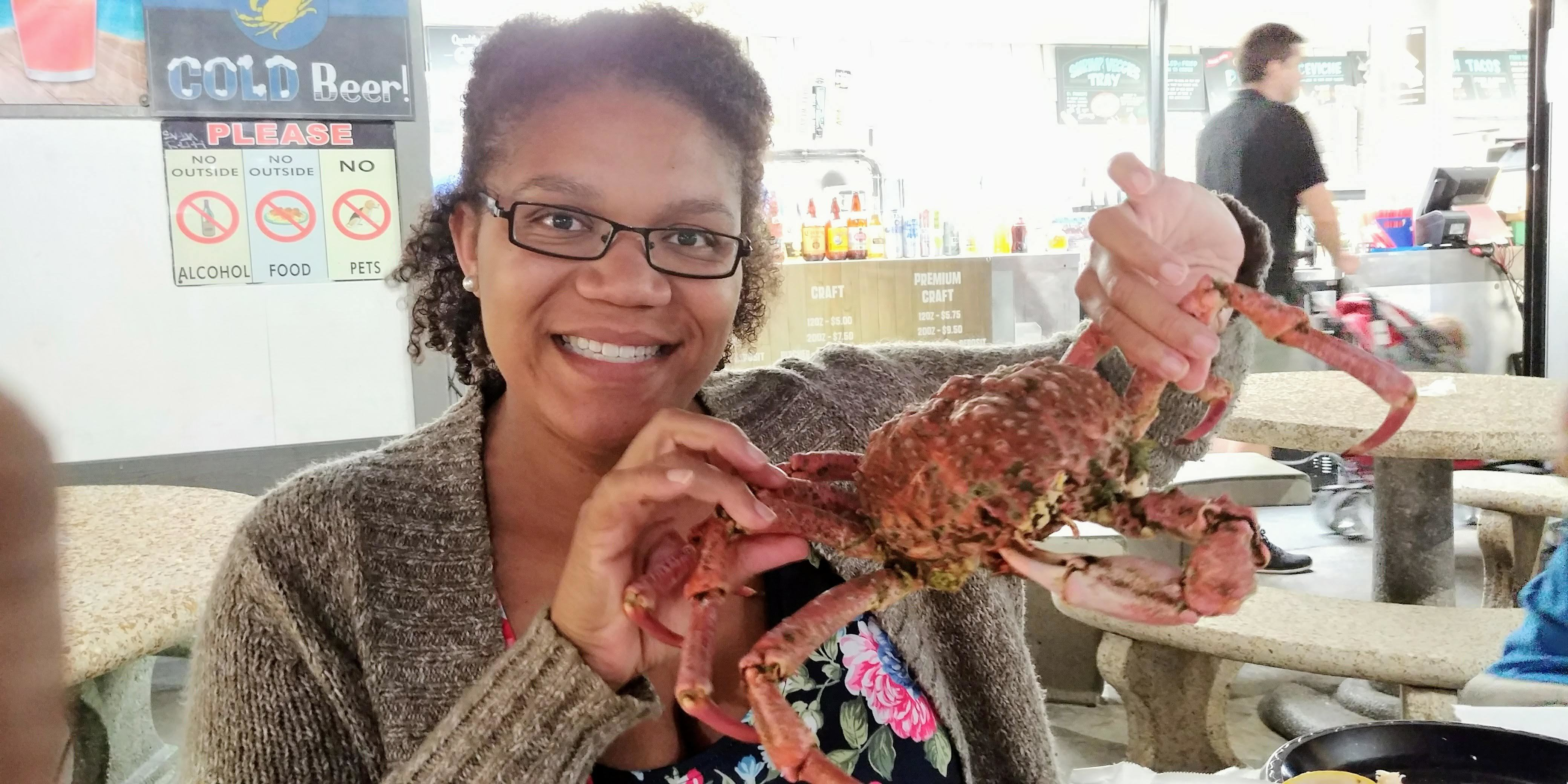 I traveled to Redondo Beach, California to visit some friends. We had to stop by the seafood market on the pier. I hand-selected this crab. It was very fresh and delicious!