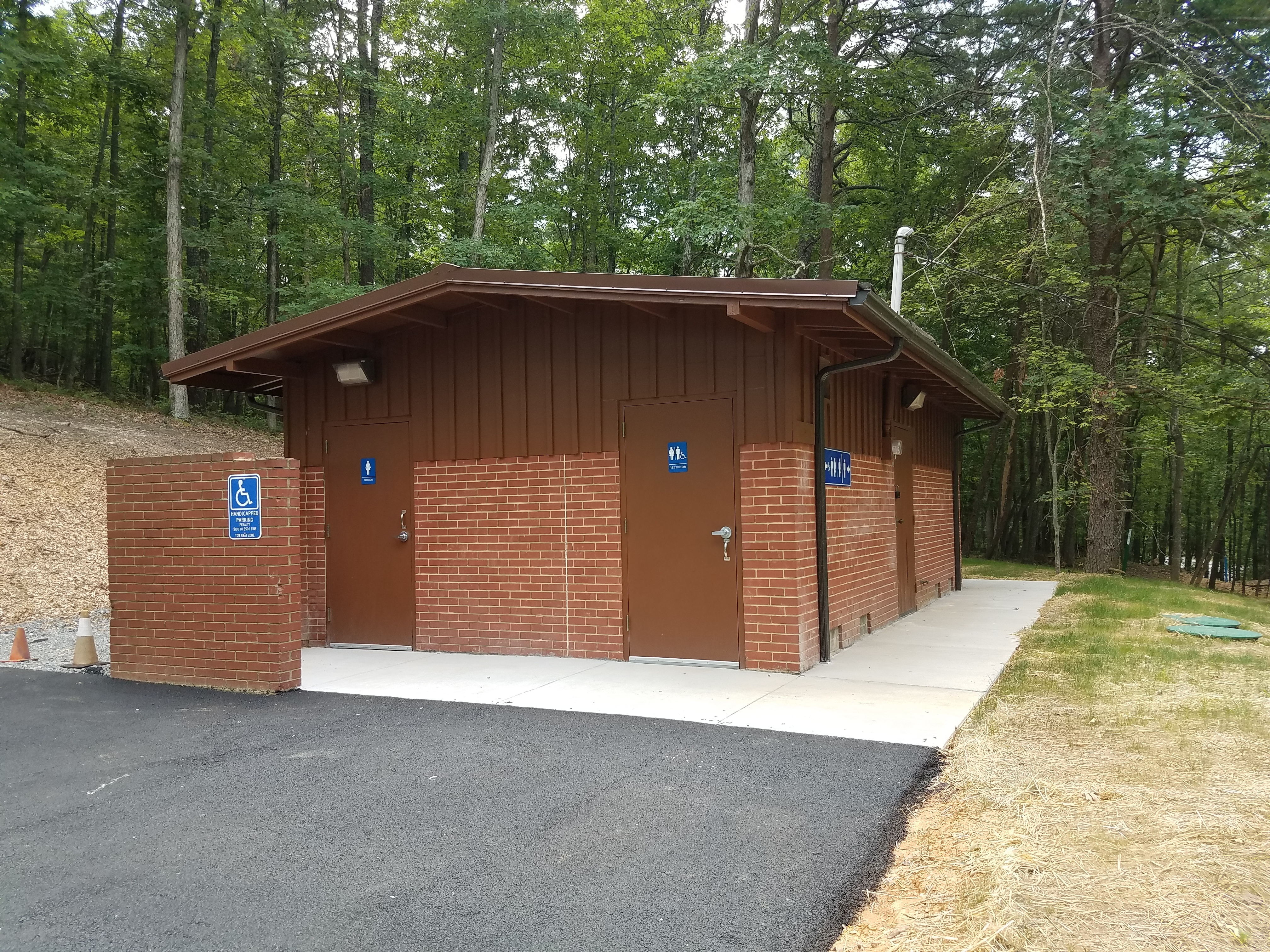 An ADA accessible bathroom is available near the picnic shelter.
