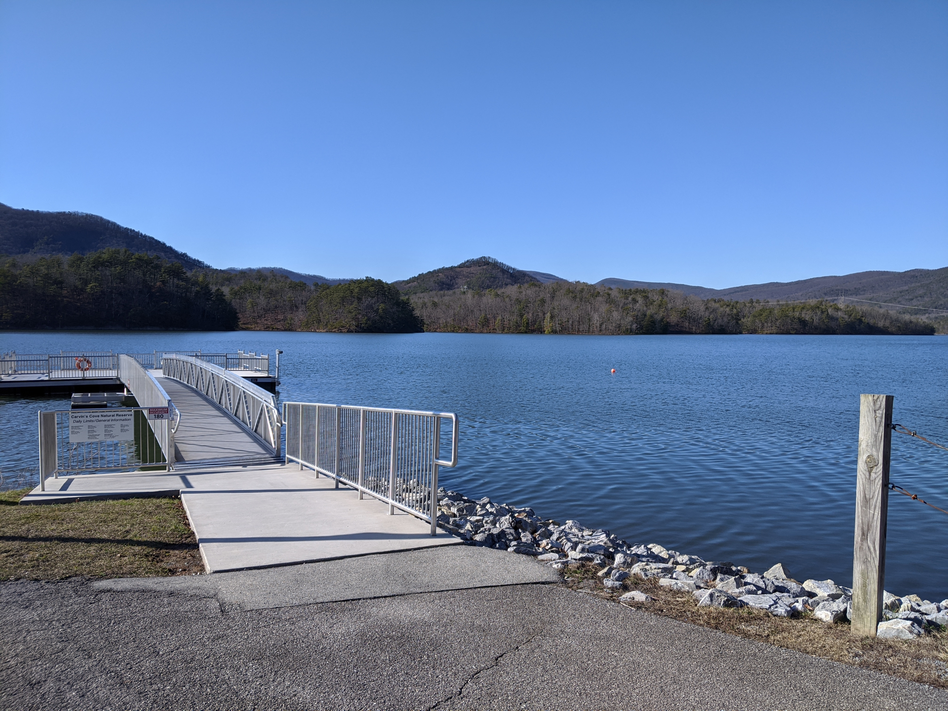 Carvins Cove features an 80-foot long floating ADA accessible fishing pier.  A current VA fishing license is required.  Daily and annual entrance passes can be purchased in-person at the Carvins Cove Boat Landing on Reservoir Road.